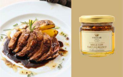 Petto d'anatra croccante con aceto e miele al tartufo bianco