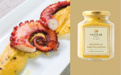 Octopus and polenta with black truffle