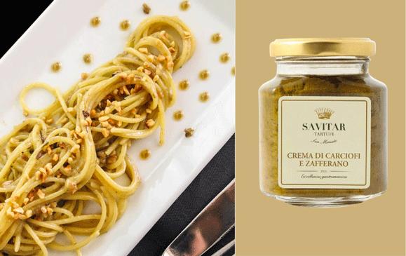 Spaghetti with artichoke and saffron cream and hazelnut grain