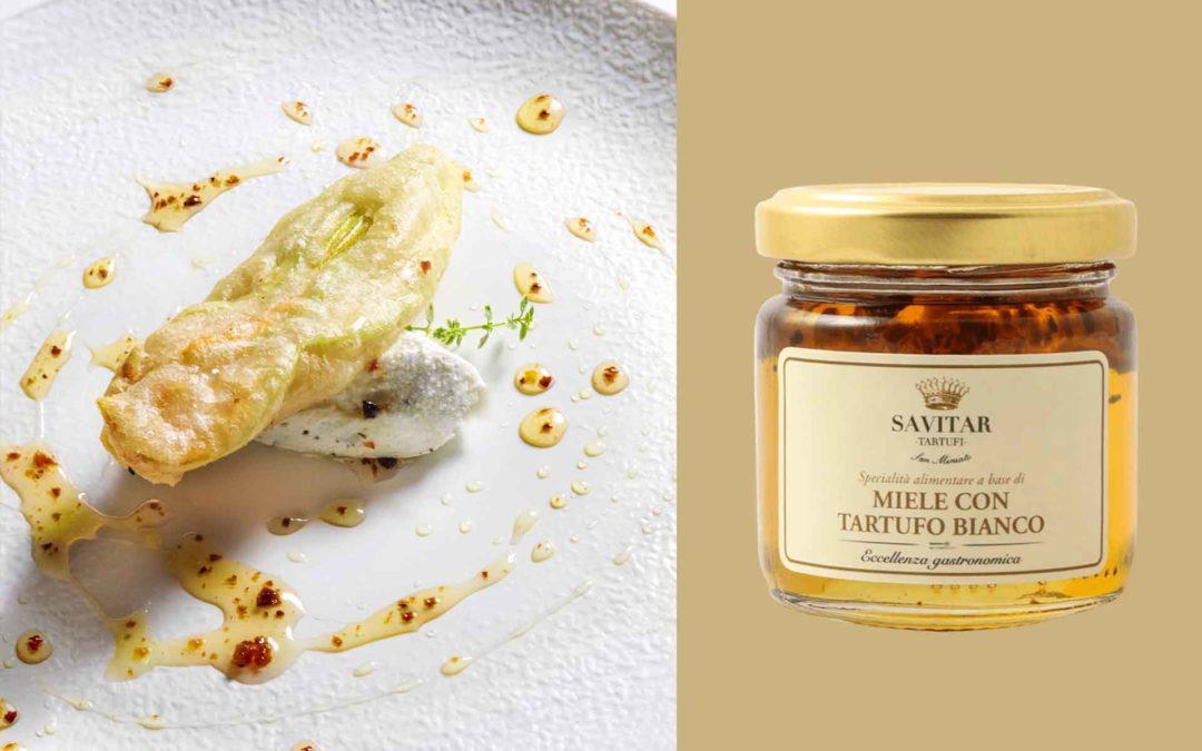 Fiori di zucca in pastella con caprino e miele con tartufo bianco