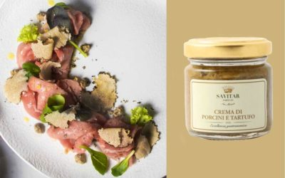 Carpaccio with porcini and truffle cream