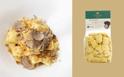 Ravioli al tartufo con burro e salvia e briciole di nocciole