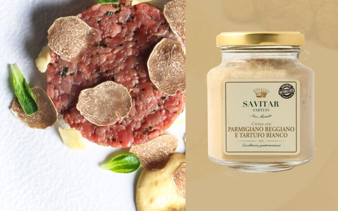 Tartare di manzo con crema di parmigiano con tartufo